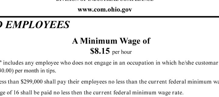 Required employment postings – State of Ohio Minimum Wage 2017