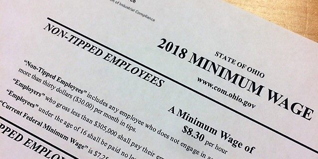 Ohio minimum wage will increase for 2018