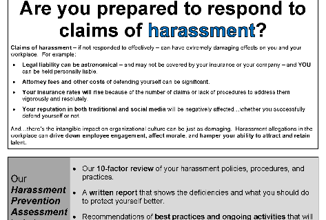 Are you prepared to respond to claims of harassment?